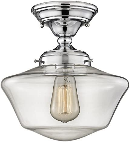 10-Inch Clear Glass Schoolhouse Semi-Flush Ceiling Light in Chrome Finish