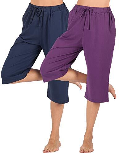 WEWINK CUKOO 100% Cotton Women Pajama Capri Pants Lounge Pants with Pockets Sleepwear (XXL=US 20, Navy+ Purple) ()