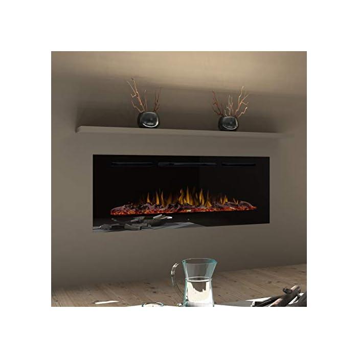 41fdl3o%2BwqL Tecnología LED, calentamiento conmutable (ventilador), partes de repuesto disponibles Tres efectos de llama distintos y decoración lumínica intercambiable (madera con efecto brillo, acrílico brillante y piedras blancas). Panel táctil con iluminación y control remoto integral (apagado/encendido, 3 efectos de llama, 5 brillos, temporizador 0,5- 7,5 horas, calentador 750/1).500 vatios.