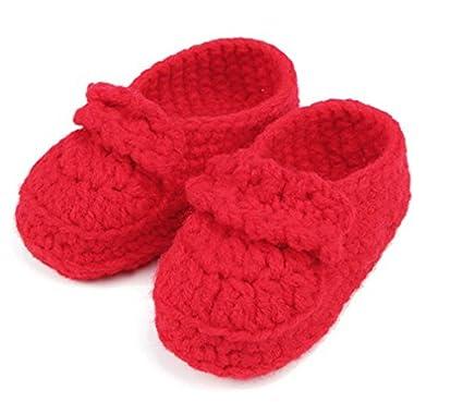 Rojo bebé recién nacido bebé niña niño mano tejer crochet Pre Walker cómodo Toddler hebilla zapatos