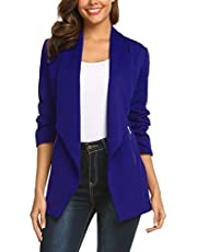 ELESOL Womens Blazer Long Sleeve Casual Open Front Business Suit Jackets Stretch Solid Boyfriend Blazer with Pockets S-XXL