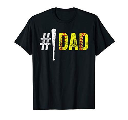 (Mens #1 Dad Shirt Number One Softball Fan Dad Gift from Daughter)