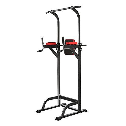 Ancheer Adjustable Power Tower, Strength Training Fitness Equipment, Multi Station Workout Pull Up, Push Up, Dip Station for Home Gym