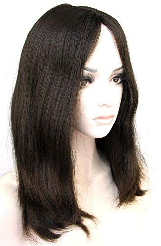 Ms Fenda Virgin European Human Hair Natural Color 4 straight style Medium Cap Size 1piece/lot 4x4 silk base 150% density Jewish Wig Kosher Wig(12inch, naturalcolor#4)