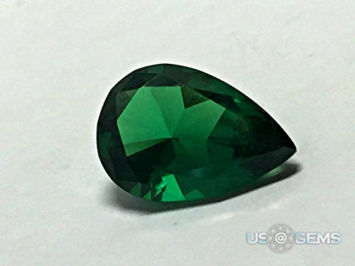 2.6 Ct Green (Emerald Dark #0/2. Pear 10x7 mm. 2,6 Ct. Monosital Created loose gemstone. US@GEMS)