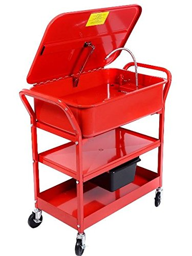 (K&A Company Mobile Parts Washer Cart Electric Solvent Pump Cleaner20 Gallon 120V/60HZ Red)