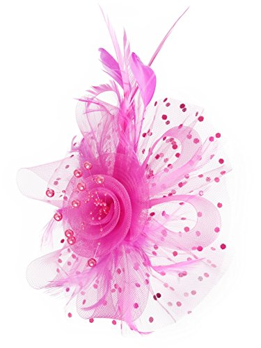 Fascinators Hat for Women Tea Party Headband Kentucky Derby Wedding Cocktail Flower Mesh Feathers Hair Clip (1-Rose) -