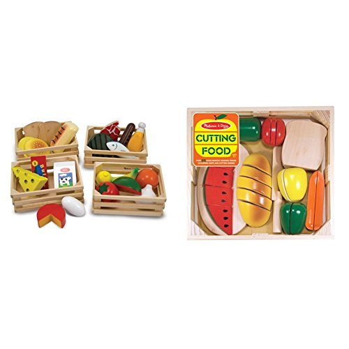 Melissa & Doug Food Groups - 21 Hand-Painted Wooden Pieces and 4 Crates with Melissa & Doug Cutting Food - Play Food Set With 25+ Hand-Painted Wooden Pieces, Knife, and Cutting Board Bundle
