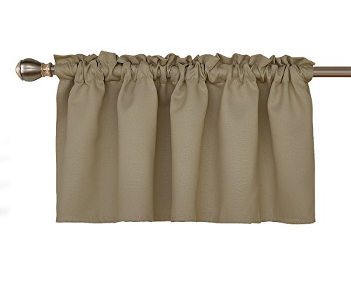Deconovo Decor Rod Pocket Blackout Curtain Textured Embossed Valance for Bedroom Window 52x18 Inch Khaki 1 Panel ()