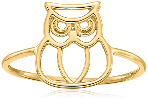 14k Owl Gold Yellow (14k Italian Yellow Gold Owl Ring, Size 7)