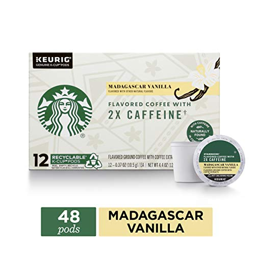 Starbucks Madagascar Vanilla Coffee K-Cups with 2X Caffeine | Coffee Pods for Keurig Brewers | 4 Boxes (48 Pods)