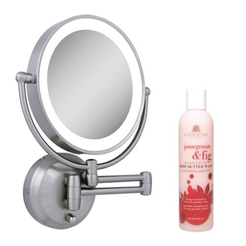 Zadro LEDW410 LED Lighted Wall Mounted Mirror and Cuccio Pomegranate & Fig Body Butter Wash by Zadro