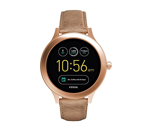 Fossil Men's Rose Goldtone Leather Q Wander Smart Watch