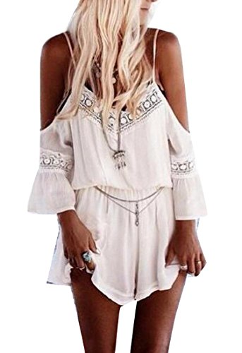 Generic Womens Sexy Lace Strap Cold Shoulder Summer Short Jumpsuit white M