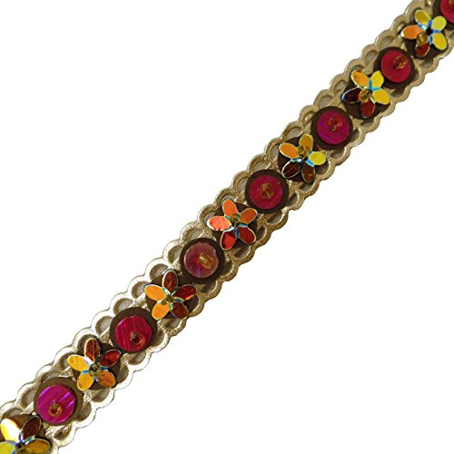 (Gold Designer Trim Floral Faux Leather Tape Sew Simulated Stone Sari Border Lace By The Yard)