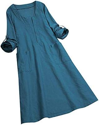 Womens Long Sleeve Boho Cotton Linen Maxi Dress Baggy Cheongsam Kaftan V Dress