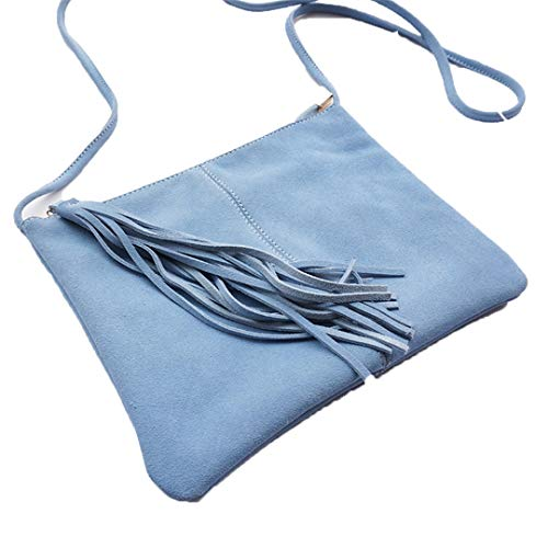 Women Suede Leather Fringed Shoulder Bag Envelope Small Crossbody Bag Nubuck Leather Mustard Clutch Sling Bag Sky blue