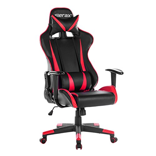 Merax Racing Gaming High-Back Chair Computer Ergonomic Design Computer Chair PU Leather Office Chair (red)