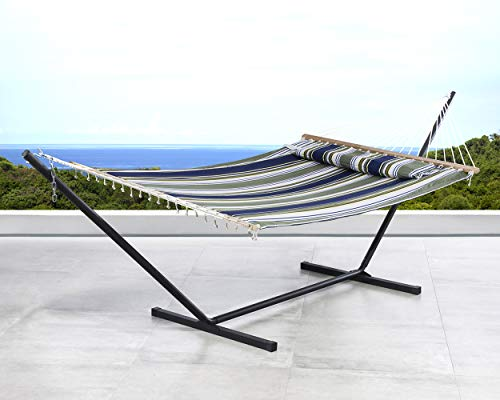 SUNCREAT 2 Person Double Hammock with 12 Foot Steel Stand, Includes Quilted Fabric Bed and Pillow, Blue & Aqua ()