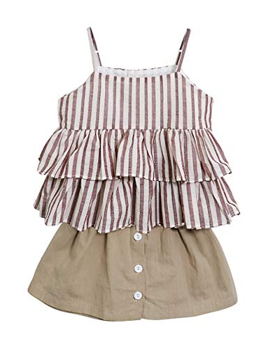 Little Kid Girl Clothes Off-Shoulder Striped Ruffle Camisole Tops + Casual Button Shorts Summer Cake Skirt Outfits 2PCS Set(4T)