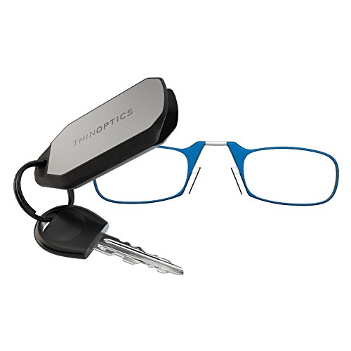 ThinOPTICS Keychain Reading Glasses, Blue Frame, 2.50 - Frames Blue Glass