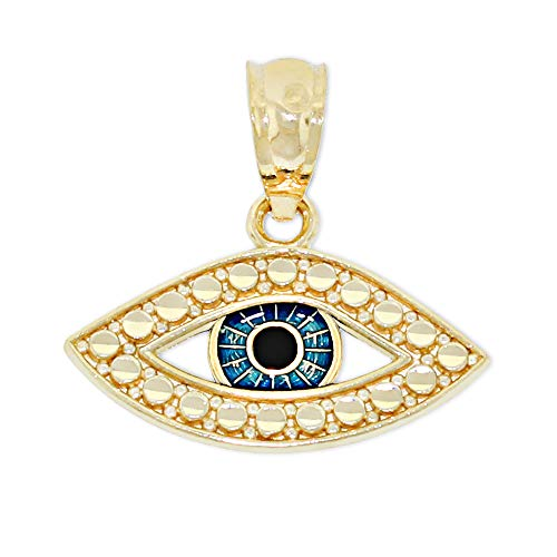 Charm America - Gold Evil Eye Charm Enamel - 14 Karat Solid Gold