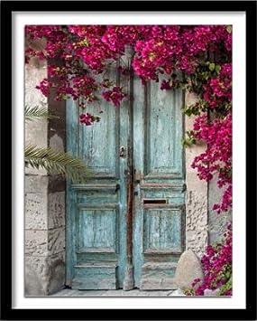 pintar por numeros adultos Una puerta cerrada con una flor de rosa pintura al óleo pintura acrílica de color digital para adultos para decoración del hogar obra de arte sin marco 40x50xm WYLUWLI