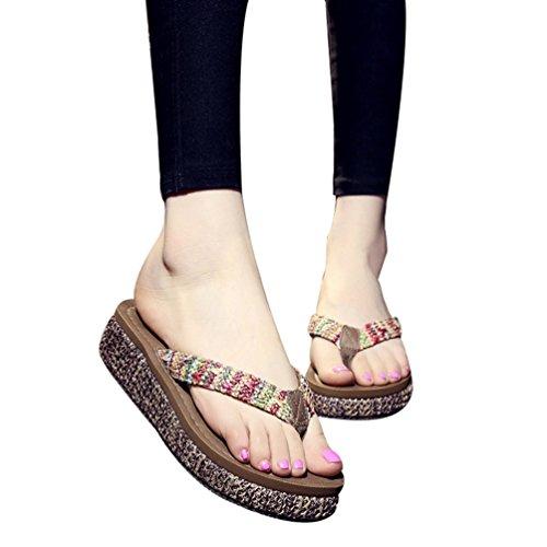 YOUJIA Mujeres Cómodo Verano Playa Bohemia Plataforma Cuñas Chanclas Zapatillas #5 Paja