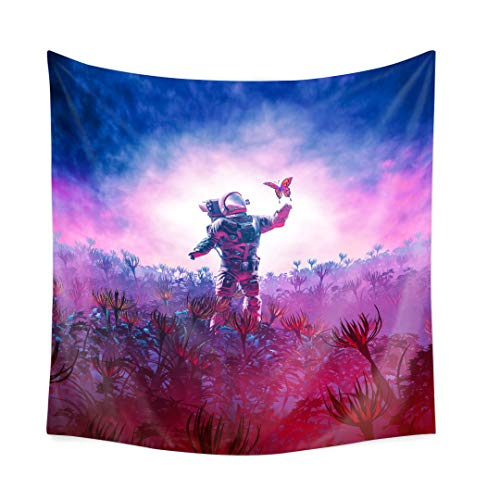 QCWN Fantasy Spaceman Tapestry, Cool Spaceman Astronaut with Butterfly Decor Art Print Wall Hanging Tapestry for Home Decor(14, 78