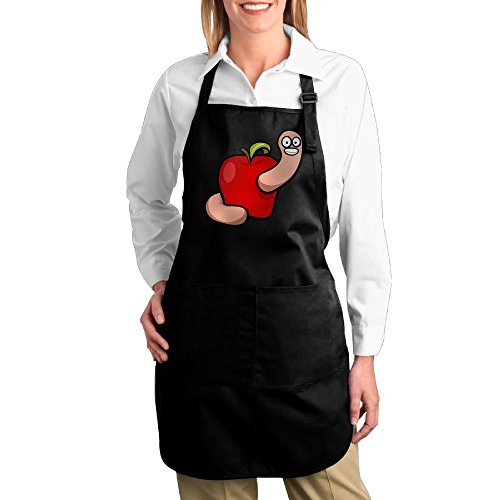 [Dogquxio Bugs In Apple Kitchen Helper Professional Bib Apron With 2 Pockets For Women Men Adults Black] (Dragon Dance Costume For Sale)