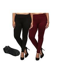 ShoSho Women's Everyday Warm Soft Solid Fleece Tight Leggings w/Free Socks (Plus