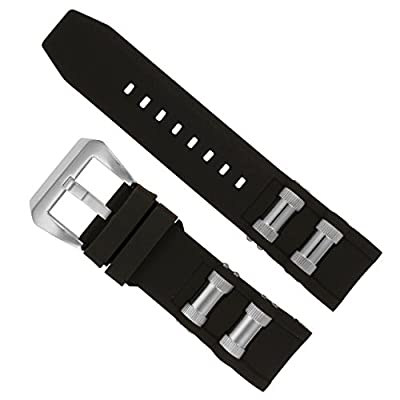 Replacement Generic Watch Band Black with Steel Inserts for Invicta 1088, 1843 Russian Diver Watches from Watch Experts
