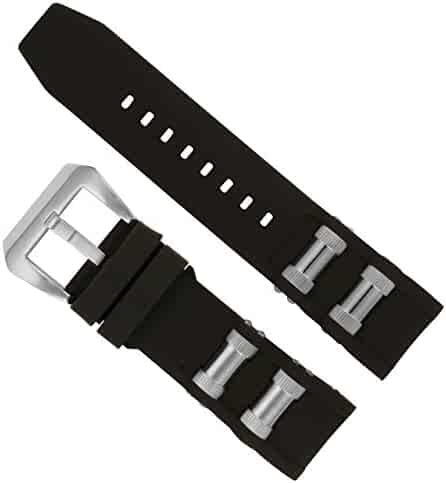 Watch Experts Replacement Watch Band with Steel Inserts for Invicta 1088, 1843 Russian Diver (Black)
