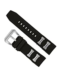 Replacement Generic Watch Band Black with Steel Inserts for Invicta 1088, 1843 Russian Diver Watches