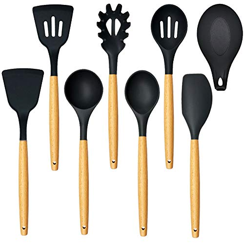 (Unijoy UUS01 Silicone Kitchen Utensil Set, 8-piece Cooking Utensils Set made of FDA Grade BPA-free Silicone with Solid Beechwood Handle, 480℉ Heat Resistant | Cooking Tools for Non-stick Cookware)