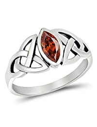 Sterling Silver Simulated Garnet Ring Irish Celtic Knot Design Band 925 New Sizes 5-10