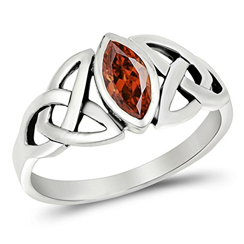 January Birthstone Ring - Sterling Silver Simulated Garnet Ring Irish Celtic Knot Design Band 925 New Size 9