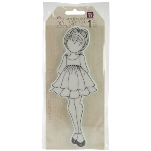 Prima Petites Scrapbook - Prima Marketing Mixed Media Doll Cling Rubber Stamps, Doll with Ruffle Dress