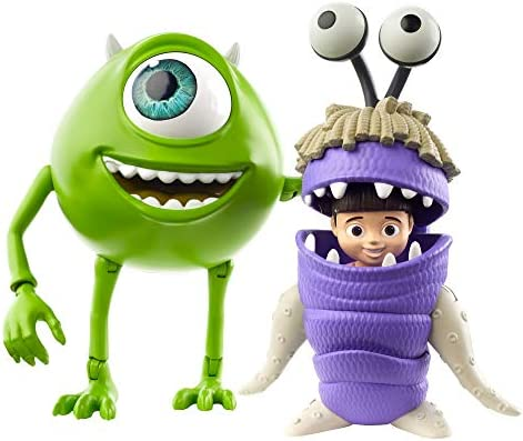 Disney Pixar Monsters, Inc Mike and Boo Figures [Amazon Exclusive] Character Action Dolls Highly Posable with Authentic Designs for Storytelling, Collecting, Movie Toys for Kids Gift Ages 3 and Up