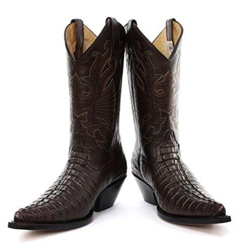 Carolina Cowboy Derby Croc Leather Western Mens Look Boots Grinders Classic Real Brown Skin Designer U876HqT