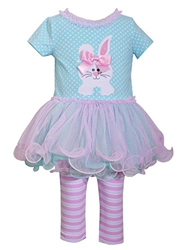 Girls Easter Clothes (Bonnie Jean Easter Baby Girls' Appliqued Skirt Dress and Legging Set (5,)