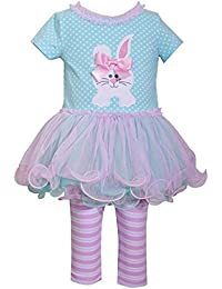 Aqua Bunny Tutu Top And Striped Legging Set