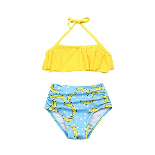 Goodtrade8 Toddler Baby Girl Ruffle Off Shoulder Collar Bikini Set Swimsuit Two-Piece Bathing Suit (3T(2-3 Years), (Clearance Girls Swimsuits)