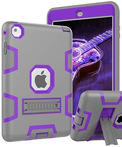 iPad Mini 5 Case,New iPad Mini 2019 Case,iPad Mini 4 Case,[Kickstand] Kids Proof Shockproof Heavy Duty Protective Cover Case for iPad Mini 5 2019 Release/iPad Mini 4/iPad Mini 4 Retina Grey Purple