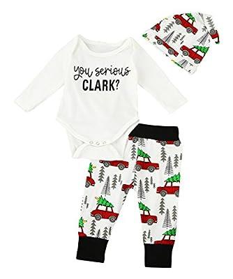 Christmas 3Pcs Set Cute Newborn Infant Baby Boy Girl Clothes Romper Tops +Long Pants Outfit