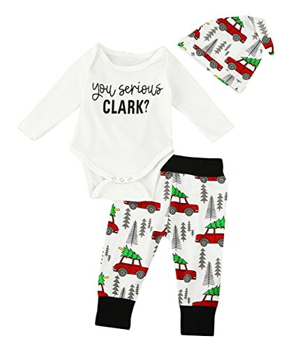 Christmas 3Pcs Set Cute Newborn Infant Baby Boy Girl Clothes Romper Tops +Long Pants Outfit (18-24 Months, (Kids Clothes For Christmas)
