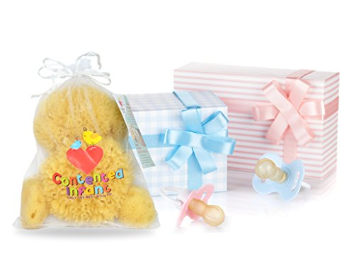 Natural Sea Sponges for Newborn, Baby & Toddler Bath 4 Pack: Gentle Hypoallergenic Baby Shower Care Gift Set by Contented Infant