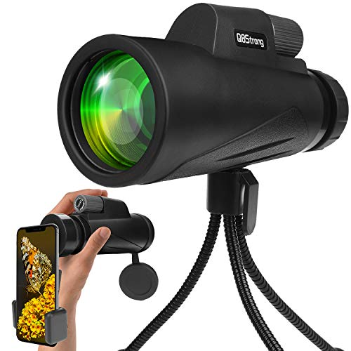 Monocular Telescope, QBStrong High Power Monocular Telescope for Phone with Smartphone Adapter & Flexible Tripod, Nitrogen-Filled Waterproof Fogproof for Bird Watching, Nature Watching, Hunting(Black)