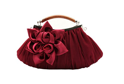 Flower Handheld Clutch Satin Wedding Bridal Handle Bag Party Handbag Burgundy Satin