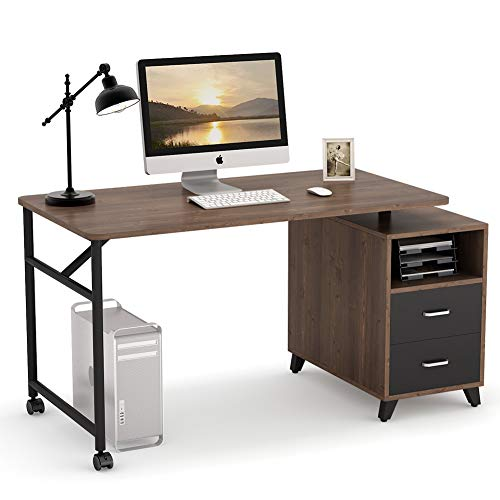 Tribesigns Computer Desk with Reversible Storage Cabinet, 360° Free Rotating Home Office Desk 47 inch Industrial Study Writing Table Computer Workstation with 2 Drawers